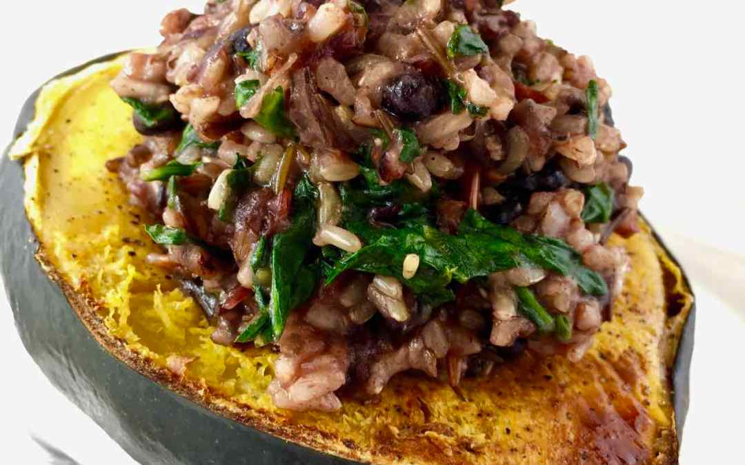 Garam Masala Baked Acorn Squash – Stuffed With Cranberry Rice