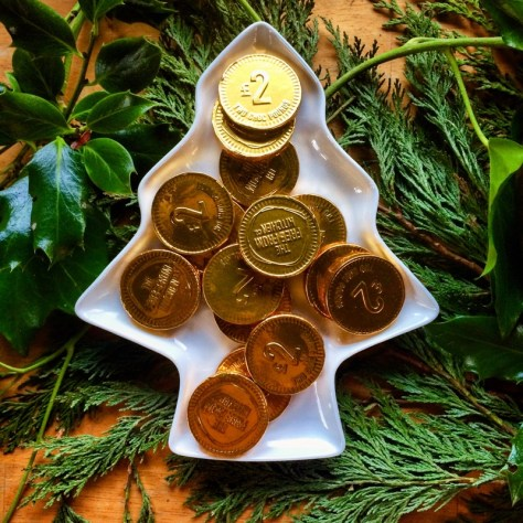vegan gold coins for Christmas