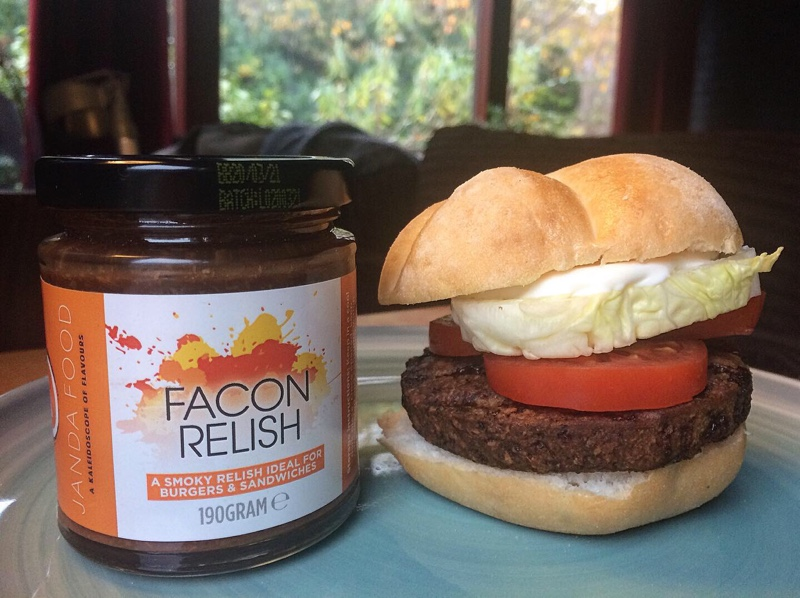 Facon Relish from Janda Food and a burger!