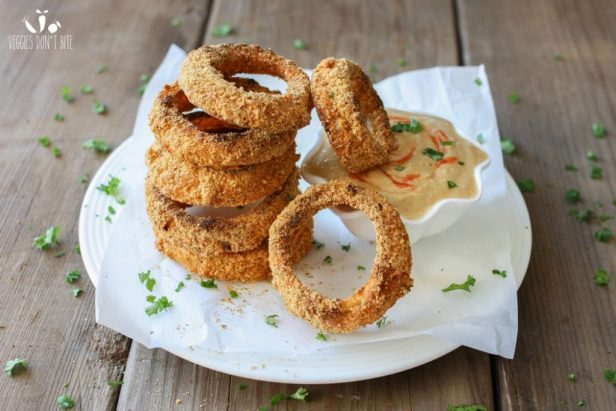 Baked Cornmeal and Pepita Crusted Onion Rings Recipe -Vegan Finger Food Recipes