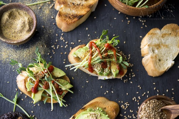 Smoky Sesame Avocado Crostini Recipe - Vegan Finger Food Recipes