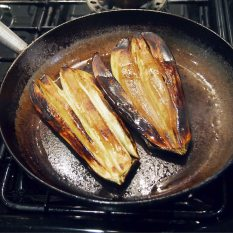 frying the aubergines -