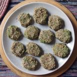 patties coated in sesame seeds ready for frying
