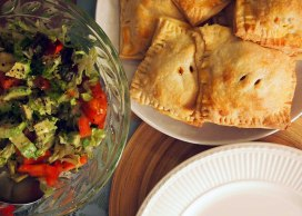 hot chilli veg. pasties with avocado, sweet pepper, tomato and cos salad