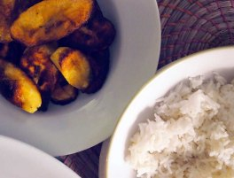fried plantain, steamed rice