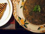 Crofter's soup, with nettles. Potato scones. Vegan