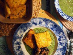 fried polenta+ broccoli and watercress sauce + garlicky mushrooms
