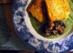fried herby polenta and garlicky mushrooms