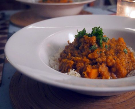 winter squash and red lentil dal
