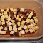 dice tofu and marinade in tamarin and lemon juice