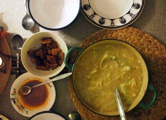 caldo verde + fried spiced tempeh + paprika oil