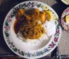 cauliflower curry two ways: bharta and pakora, with lemon, non-dairy yogurt, chutney and rice