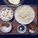 Cauliflower florets, blitzed cauliflower, spices, mustard seeds and chickpea flour