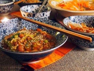 Chinese Yellow Bean + Noodle Stir-Fry. Vegan.