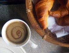 freshly baked croissant + spiced turmeric cocoa