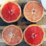 slice grapefruit in half and slice around edge and 8 segments from centre
