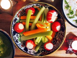 crudités : to make them crisp and fresh, keep in cold water until just before serving...