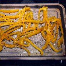 roast yellow pepper in oil salt and pepper