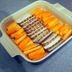 sliced firm tofu and carrot batons
