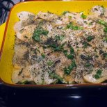 scatter fresh basil and good dried mint over the potato layer