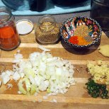 chilli powder, coriander seeds, finely chopped ginger, finely chopped green chillies, diced onions + turmeric, black pepper