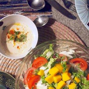 serve with mango salad and spiced yogurt dressing