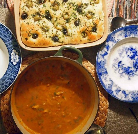 olive focaccia and tuscan bean soup