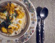 cauliflower korma with basmati - garnish with fresh corainder