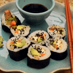 Vegan Sushi Rolls with Asparagus and Tofu (bean curd)