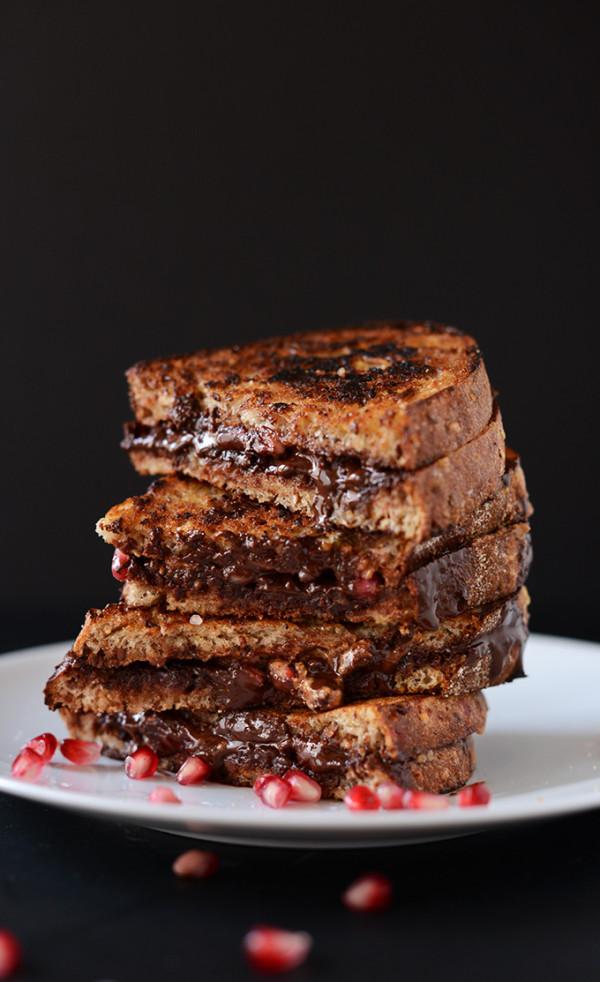 Grilled Almond Butter Dark Chocolate Pomegranate Sandwich