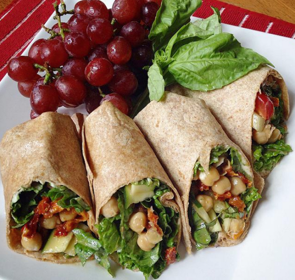 Chickpea & Hummus Wraps with Sun Dried Tomatoes