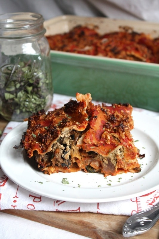 Spinach & Wild Mushroom Lasagna with Basil Almond Cream