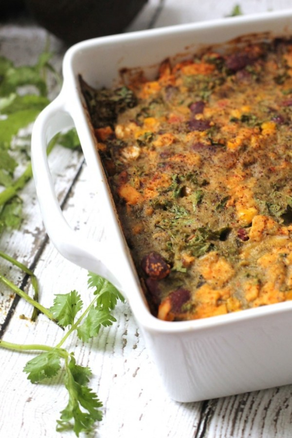 Tempeh & Kale Enchilada Casserole