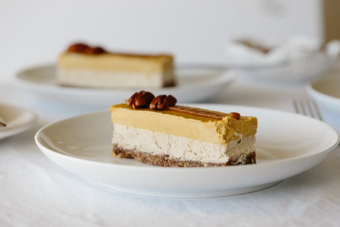 Raw White Chocolate and Pumpkin Cheesecake