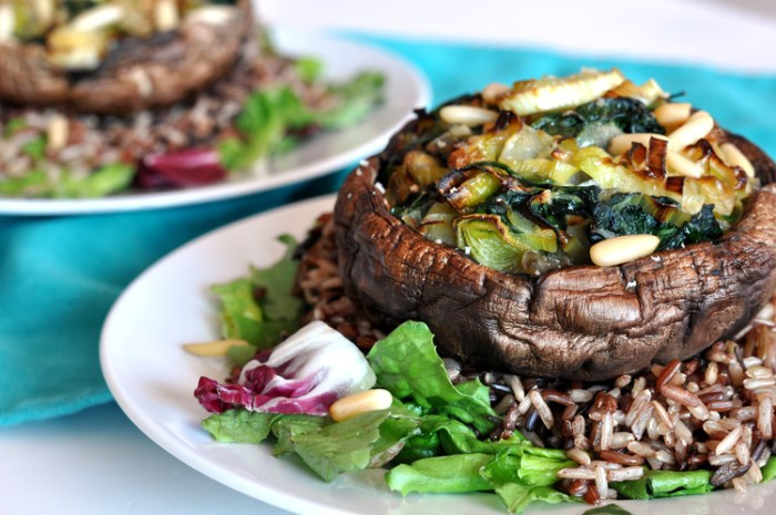 Spinach & Leek Stuffed Portobellos with a Wild Rice Salad
