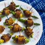 Tempeh Bacon Wrapped Stuffed Dates w/ Asparagus & Cashew Cheese