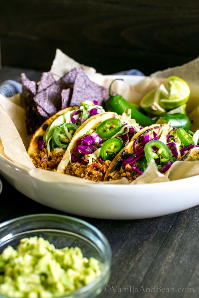 Tofu Tacos with Chili-Lime Slaw and Pepita Crema