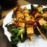Baby Bok Choy & Sriracha-Marinated Tofu Kebabs