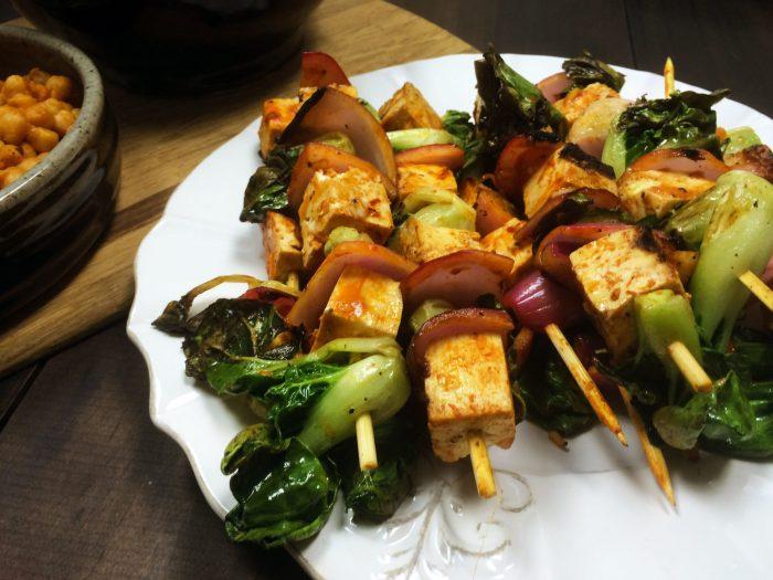 bok choy tofu bbq kebabs
