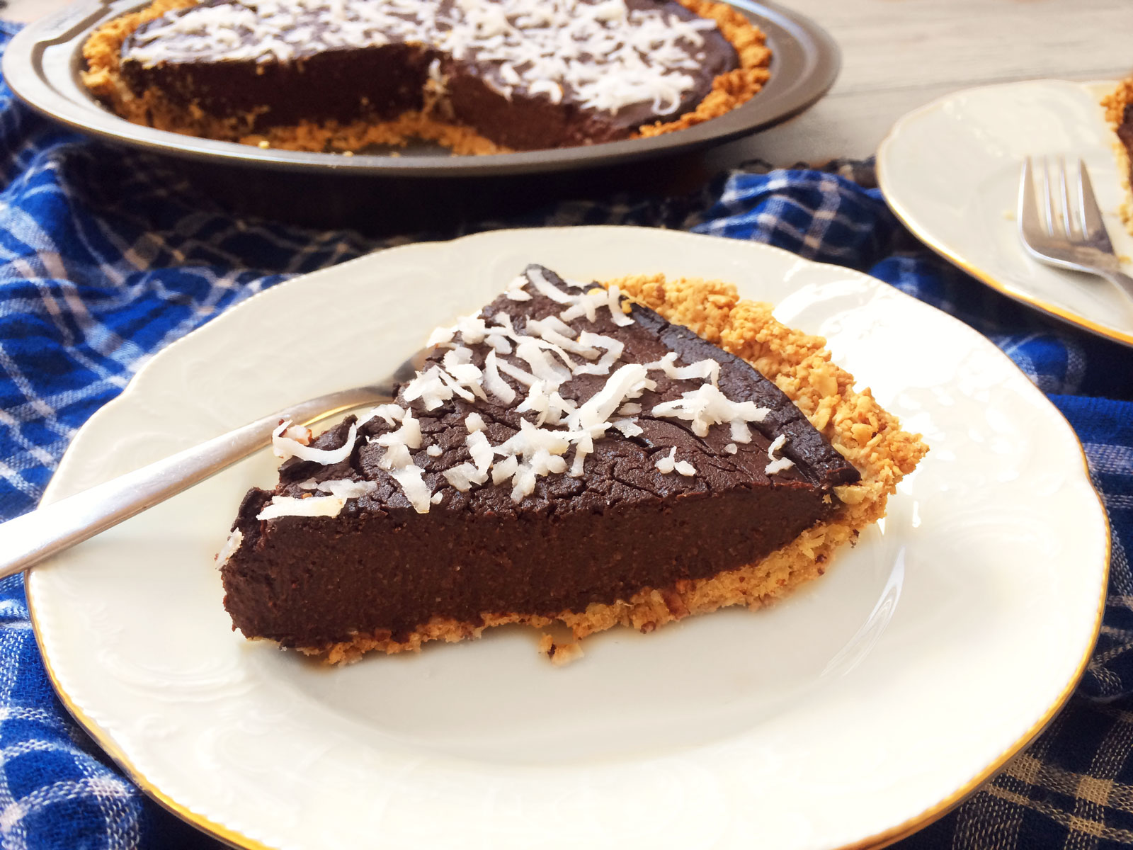 Chocolate Coconut Pie with Peanut Butter and Oats Crust