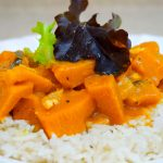 Kabocha Squash in Red Kaffir Coconut Curry