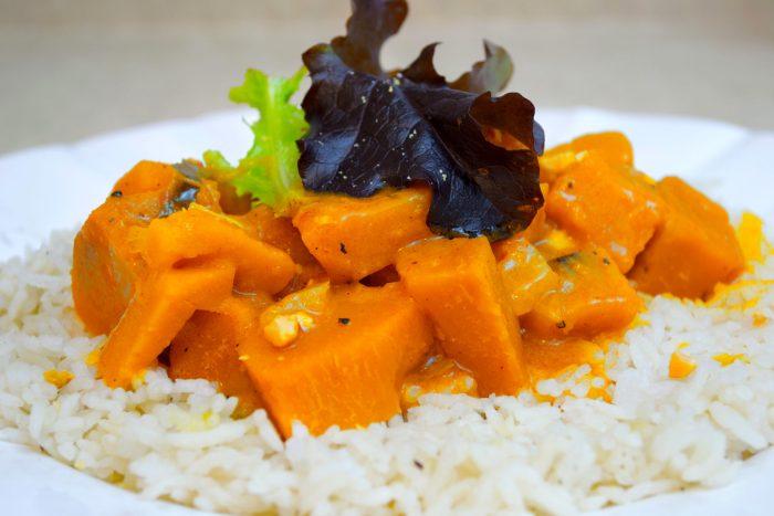 kabocha curry kaffir leaves