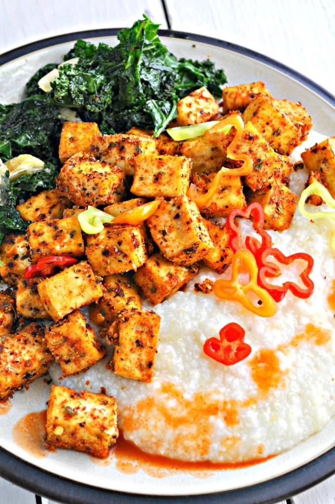 Vegan Cajun Tofu with Creamy Grits and Greens