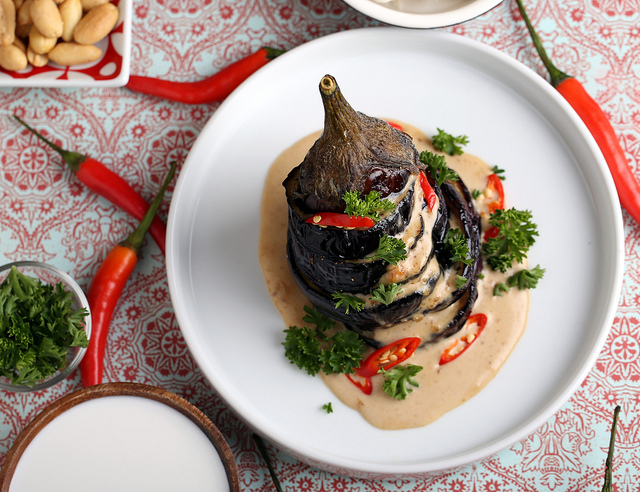 Indonesian Eggplant with Peanut Sauce