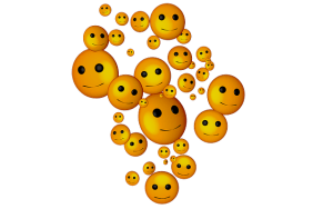Smiley, floating faces