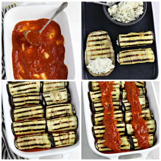 4 process photos of preparing eggplant rollatini in a casserole dish.