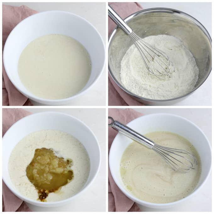 Four process photos of mixing batter for muffins.