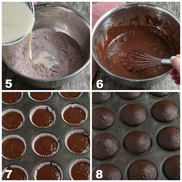 4 process photos of mixing batter and baking in cupcake pans.