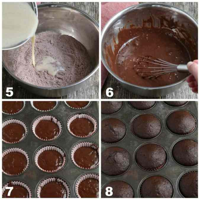 4 process photos of mixing batter and baking in cupcake pans.