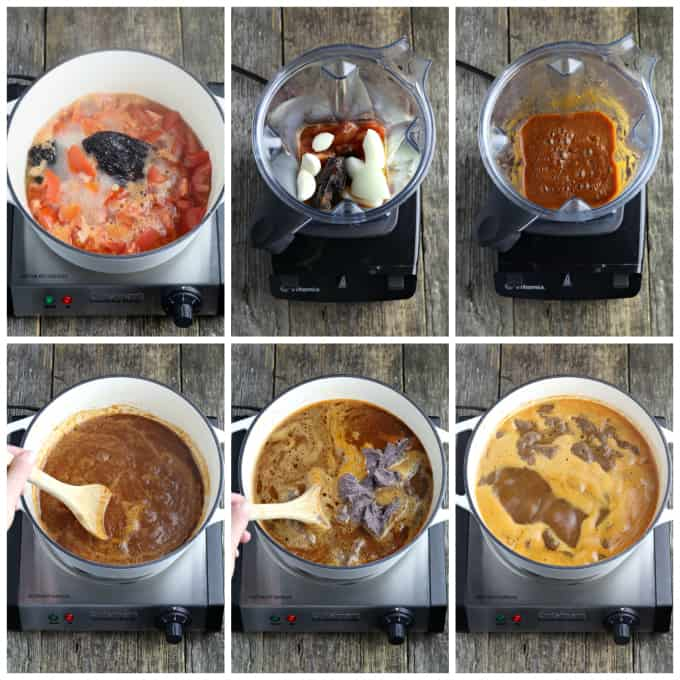 6 process photos of making Mexican black bean soup.